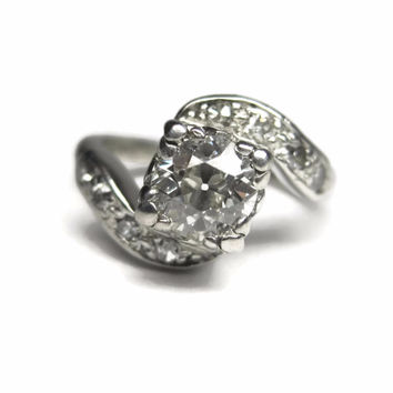 Antique Platinum .69 Carat Diamond Pinky Ring Size 2.5