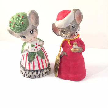 Christmas Critter Bells Mr. and Mrs. Mouse Set Porcelain Figurines Jasco 1980