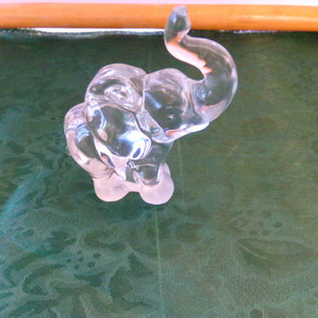 Fenton Crystal Vintage Mid Century Mod Clear Art Glass Elephant Trunk Up Figurine Statue