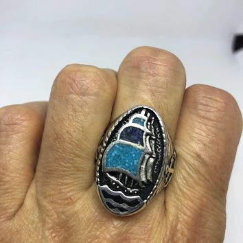 Vintage Southwestern turquoise and Lapis inlay ship Men's Ring