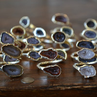 Geode Wrap Ring /// Stackable Gemstone Electroformed Ring /// Silver