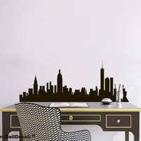Vinyl Wall Decal Sticker Bedroom USA New York Ny Skyline Buildings Map r1688