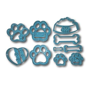 Dog Bone and Paw Limited Edition Cookie Cutter Set of 10