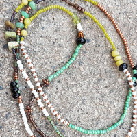 Long beaded copper and  turquoise stretch bracelet necklace with Picasso glass beads and gemstones