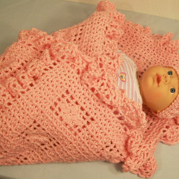 Crochet Baby Blanket and Hat--Pink with ruffles-Baby Shower gift