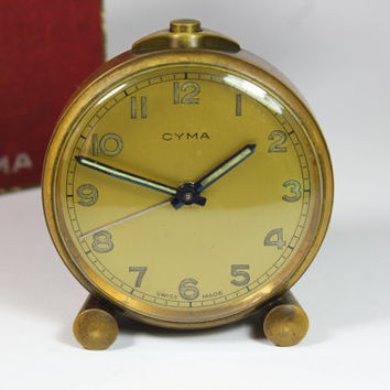 Vintage Cyma Tavannes Art Deco Travel Desk Table  Retro Alarm Clock