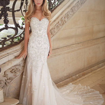 Style 2886 Modern Bride Wedding Dress 2017 Buttons Back Mermaid Wedding Dresses Bling Beading Lace Western Wedding Dresses