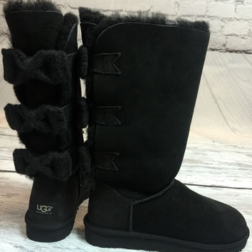 UGG TALL BAILEY KNIT BOW BOOTS IN BLACK
