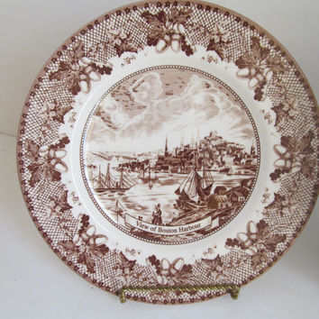 Johnson Bros Historic America II Boston Harbour Brown Transferware Acorn Design Boston MA Collectible Plates