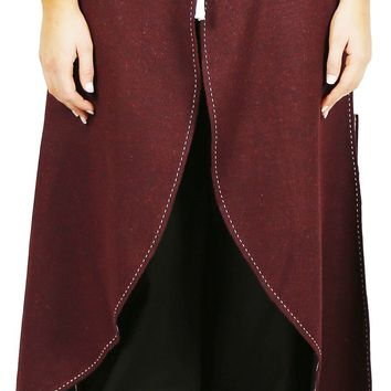 Calvina Costumes Maya Medieval Wool Skirt by Unisex- Made In Turkey, L/XL-Burg.
