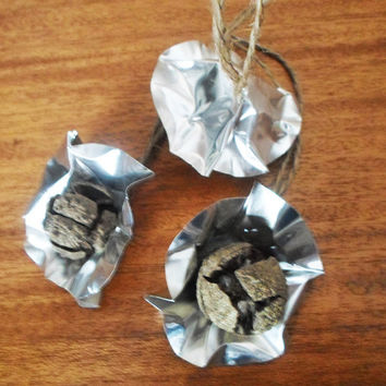 Christmas tree ornaments- Set of 3 Cypress fruit aluminum sheet and  twine - FREE gift wrapping until 30 November 2013