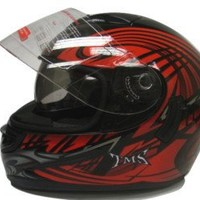 Red Tribal Dual Visor Full Face Motorcycle Street Sport Helmet DOT (Medium)