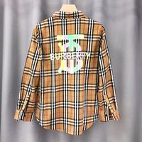 Burberry fashion lovers classic plaid pocket shirt with reflective logo and long sleeve shirt