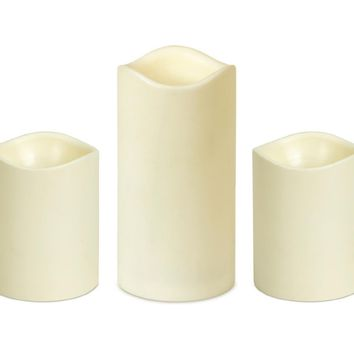Set of 3 Ivory B/O Flameless LED Lighted Flickering Wax Christmas Pillar Candles with Remote