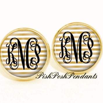 Monogram Earrings, Gold White Stripe Monogram Stud Earrings, Monogram Jewelry, Bridesmaid Gift Style 570