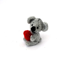 crochet koala, little koala bear, amigurumi koala doll, stuffed little toy, gift for children, koala with a red heart, cute little gift