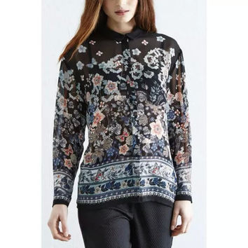 Black Floral Print Long-Sleeve Collared Chiffon Blouse With Pocket