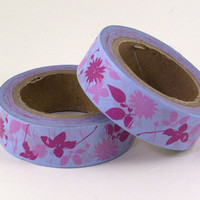 Washi Tape Purple Flowers Tape Full Roll Fun