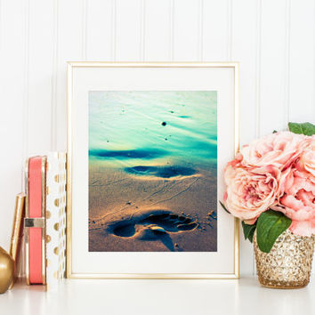 Digital download, instant printable photography, beach print, footprint in sand, Lake Michigan, fine art photography, aqua, wall art decor