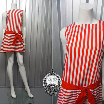 Vintage 60s Mini Mod Dress Candy Stripe Shift Dress Vertical Stripes Red and White Drop Waist Red Ribbon Sash Belt Horizontal Stripe 1960s