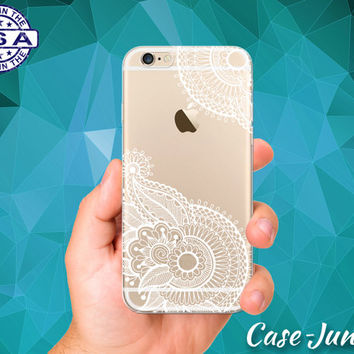 Henna Flower Ornate Pattern Tattoo Cute Tumblr Inspired Crystal Custom Clear Transparent Rubber Case Cover For iPhone 6 and iPhone 6 Plus +