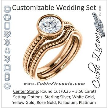 CZ Wedding Set, featuring The Cheyenne engagement ring (Customizable Round Cut Bezel-set Solitaire with Beaded Filigree Three-sided Band)