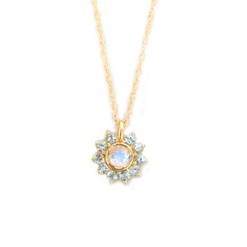 14kt Rainbow Moonstone & Topaz Sunflower Pendant