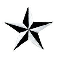 Nautical Star Patch Iron on Applique Tattoo Ink