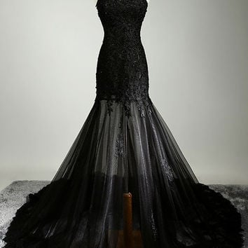 2016 Homecoming Dress Black Lace Beading Tube Maxi Evening Wedding Dress