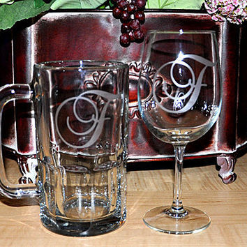 Wedding Gift Personalized Monogrammed Etched Beer Mug & Wine Glass