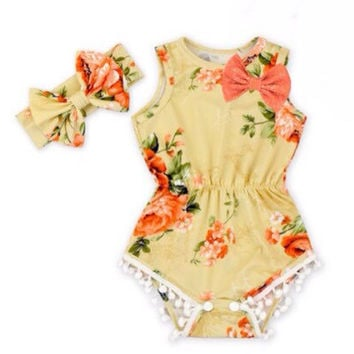 Autumn Floral baby romper, Fall Floral Romper, baby girls floral romper, rompers for girls, orange baby romper