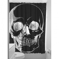 Sourpuss Skull Shower Curtain | Rockabilly Homewares