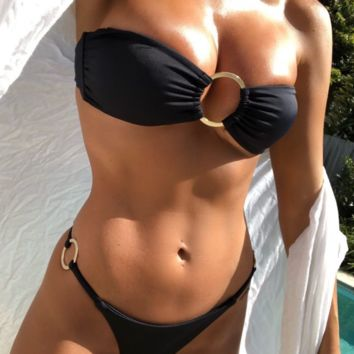 Summer new fashion leopard print sexy strapless two piece bikini swimsuit Black