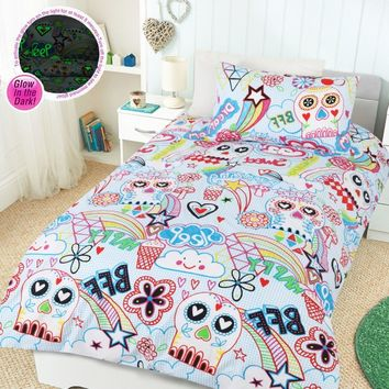 Glow In The Dark Scribble Skulls Quilt Cover Set by Happy Kids - Manchester House