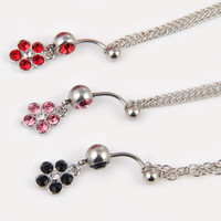 New Charming Dangle Crystal Navel Belly Ring Bling Barbell Button Ring Piercing Body Jewelry = 4804939204