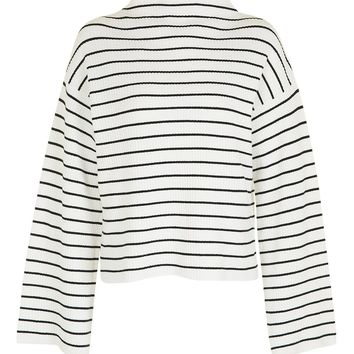 TALL Wide Sleeve Stripe Funnel Neck Jumper | Topshop