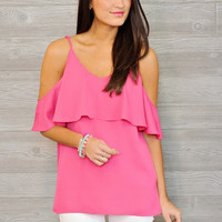 * Geneen Cold Shoulder Ruffle Top- Fuschia