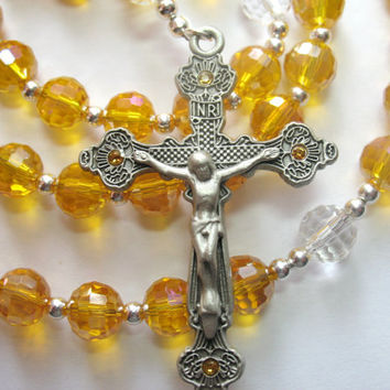 Yellow Topaz Rosary, November Rosary, Topaz Beads, November Birthstone, Miraculous Medal, Birthstone Rosary