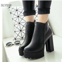 SLYXSH Women's Fashion Side Zipper Ankle Boots Platform Thick High Heel 12 cm Ladies Boots Winter Woman Shoes   Black boot