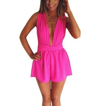 Women's Sassy Hot Pink Plunging Strappy Party Romper