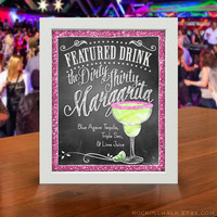 GLITTER FX Signature Drink Signs | Illustrated, Personalized Prints with Glitter Effect Borders for Any Occasion
