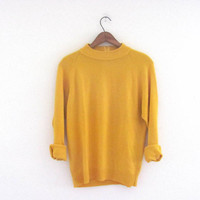 vintage yellow sweater // mock turtleneck // size S