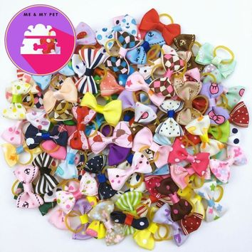 (100 pieces/lot)  Ribbon Pet Grooming Accessories Handmade Small Dog/ Cat Hair Bows