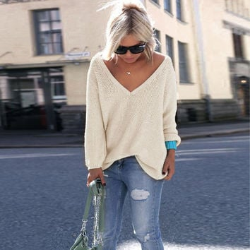 Womens V-Neck Long Sleeve Solid Color Pullover Sweater Winter Autumn