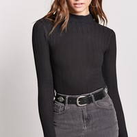 Mock Neck Sweater-Knit Top