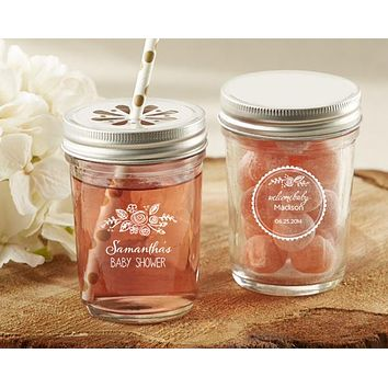 Personalized Printed Glass Mason Jar - Kate's Rustic Baby Shower Collection (Set of 12)