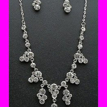 Victorian Style Crystal Princess Silver Tone Bridesmaid Bridal Necklace Earring