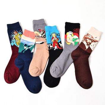 CHAOZHU New The World Famous Painting Characters Jesus Novel Harajuku Art Socks Men Tube Long Cotton Socks Art Calcetines