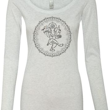 Womens Yoga Shirt Circle Ganesha Black Print Lightweight Long Sleeve