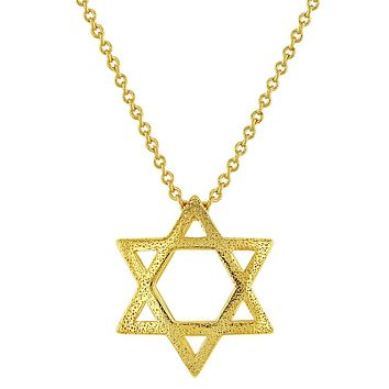 18k Yellow Gold Plated Star of David Charm Jewish Religious Pendant Necklace 18""